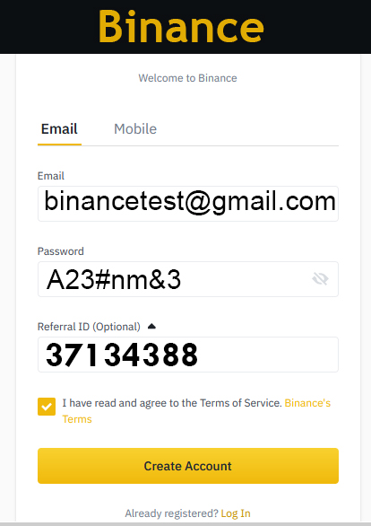 Create New in Binance